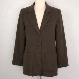 Eddie Bauer Brown Wool Angora Blazer Coat Small